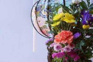 盆灯篭と供花